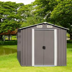 4' x 6' Outdoor Steel Garden Storage Utility Tool Shed Backy