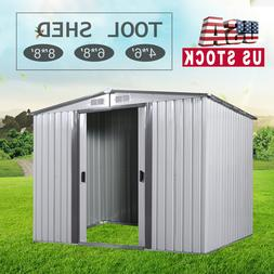 4'x6'/6'x8'/8'x8' Outdoor Garden Storage Shed Utility Tool H