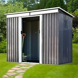 Outsunny 4'x7.8' Outdoor Garden Storage Shed Outside Ste