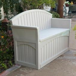 50-Gallon Outdoor Resin Deck Patio Storage Bench Seating 52L