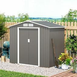 7'x4' Steel Outdoor Garden Storage Shed All Weather Tool Uti