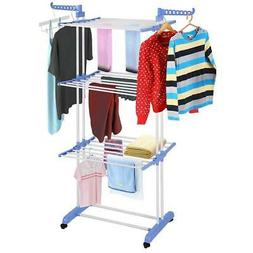"""71"""" Folding Clothes Laundry Drying Rack In/Outdoor Hanger St"""