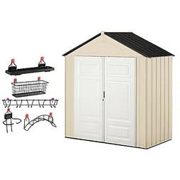 Rubbermaid 7x3 Ft Double Wall Plastic Outdoor Storage Shed &