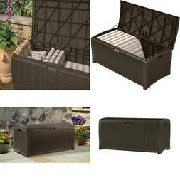 99 Gallon Outdoor Resin Wicker Deck Pool Storage Box For Pat