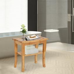 Bamboo Shower Bench Seat with Storage Shelf Spa Chair for In