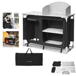 Camp Kitchen Portable Outdoor Sink Table Windscreen Grill St