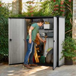Keter High Store Outdoor Storage Shed w/ Heavy Duty Floor Pa