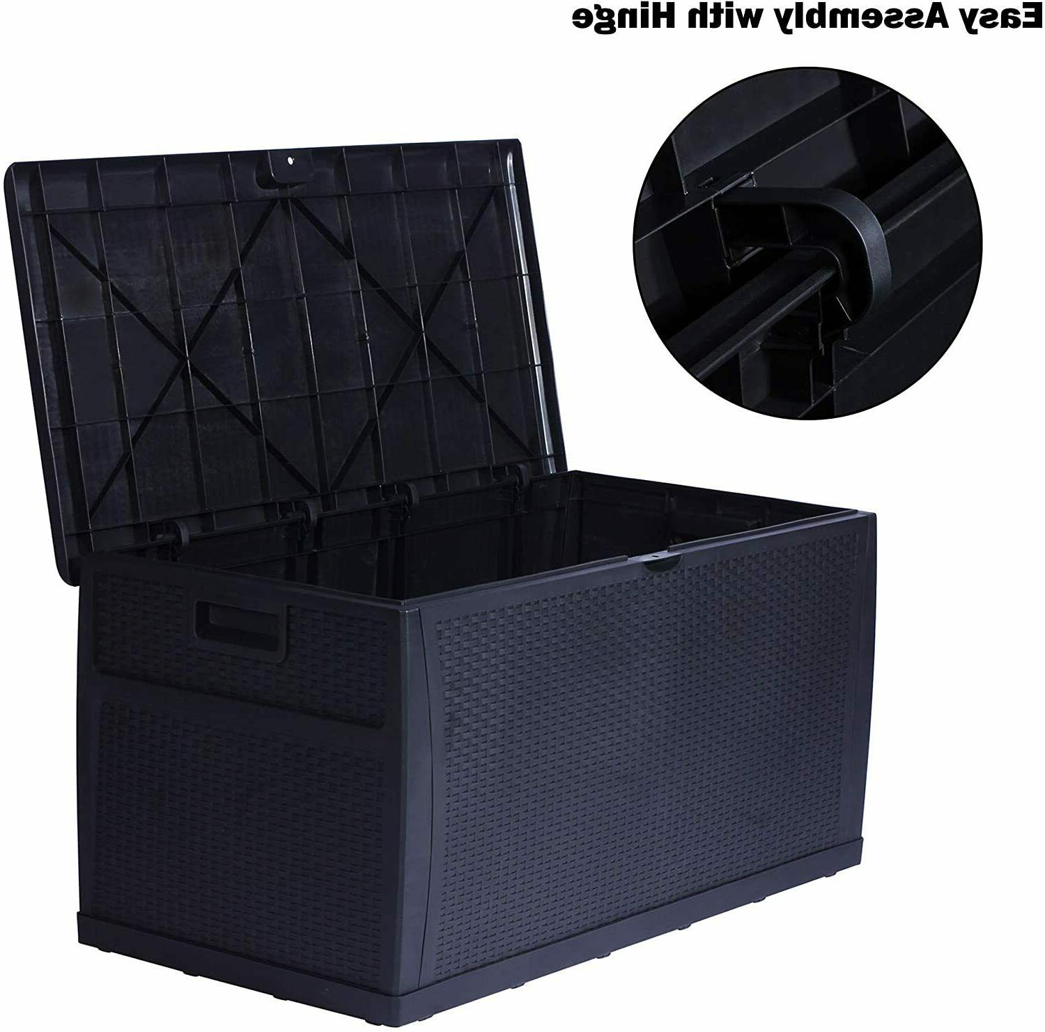 120 Gallon Rattan Effect Storage Cabinet Large Outdoor