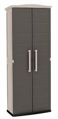 Keter 228852 Boston Tall Outdoor Storage Shed Cabinet Brown