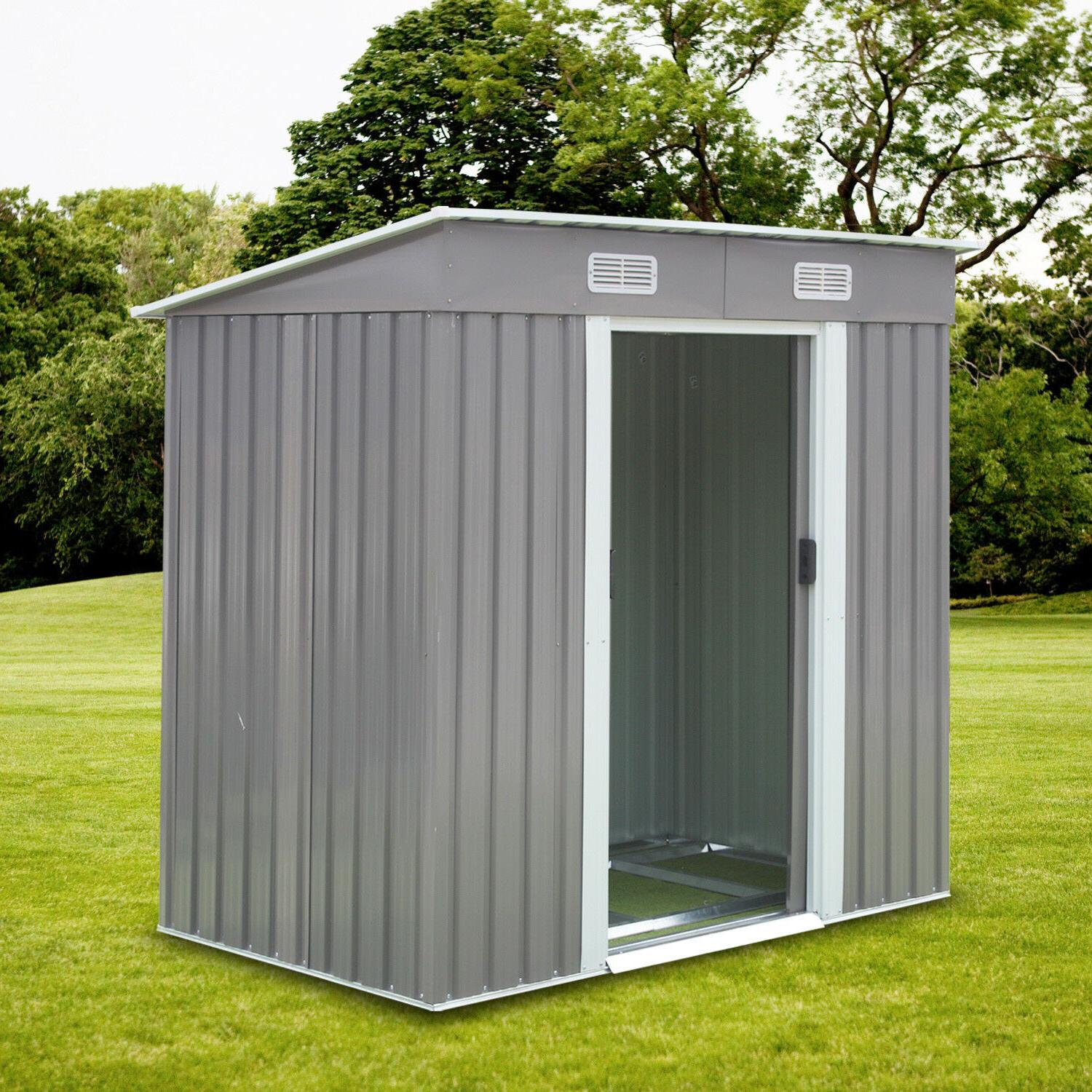 6' x Storage Shed Steel Tool Lawn Gray