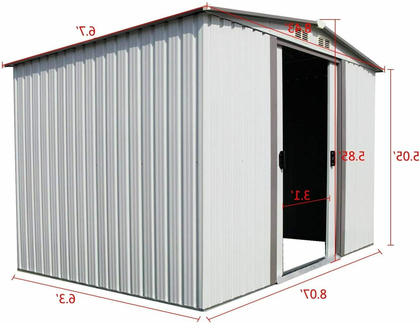 8'x6' Storage Shed Garden Utility House Waterproof