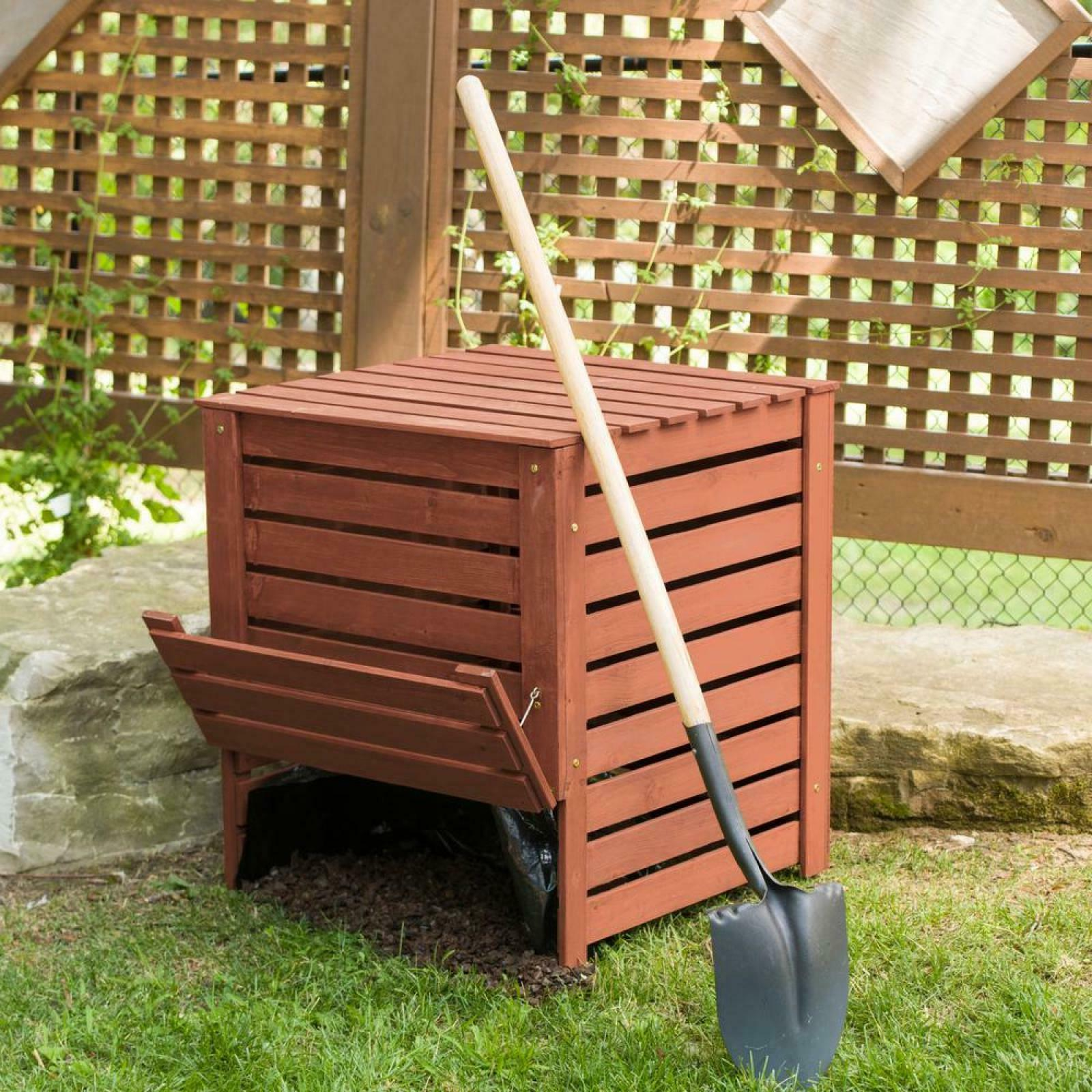 Compost Bin Box Wood Storage Weather Proof Durable Water Res