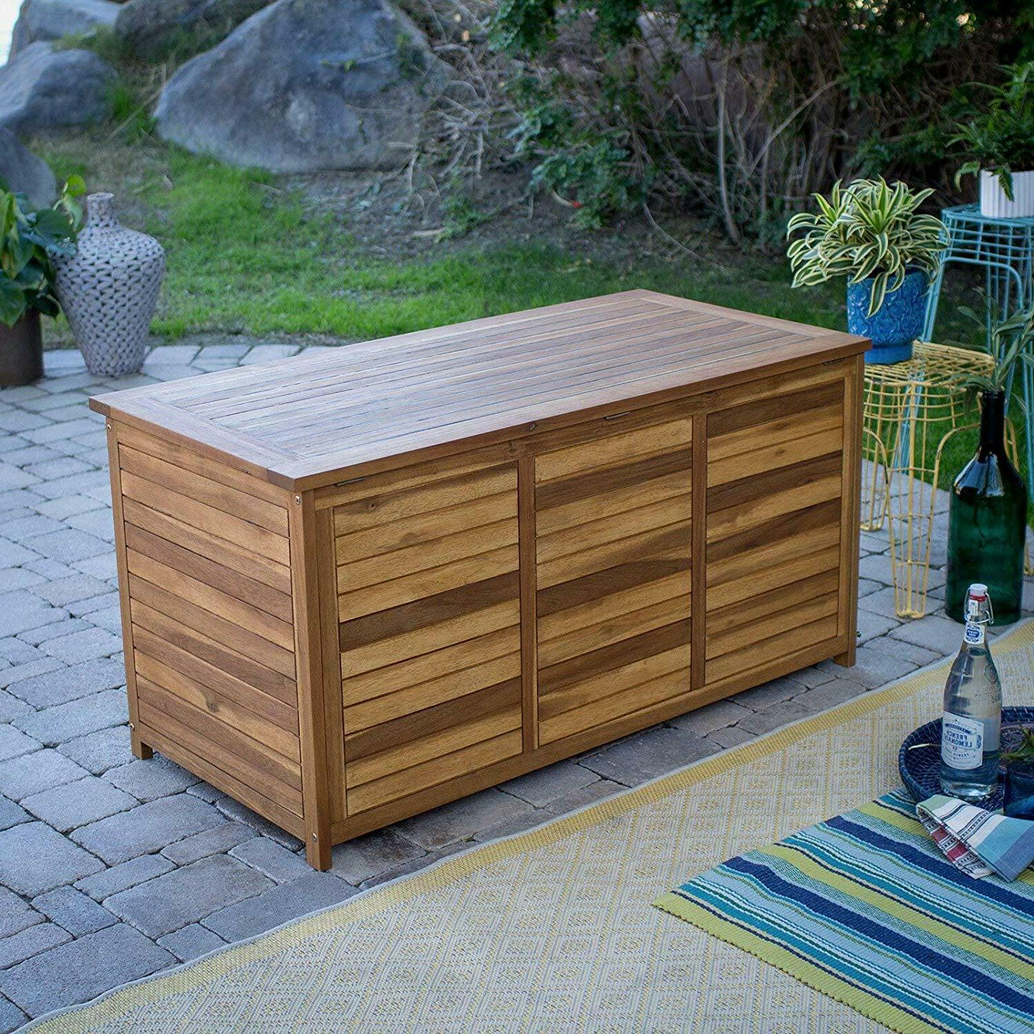 Natural Wood Patio Deck w/ Gray Fabric Storage