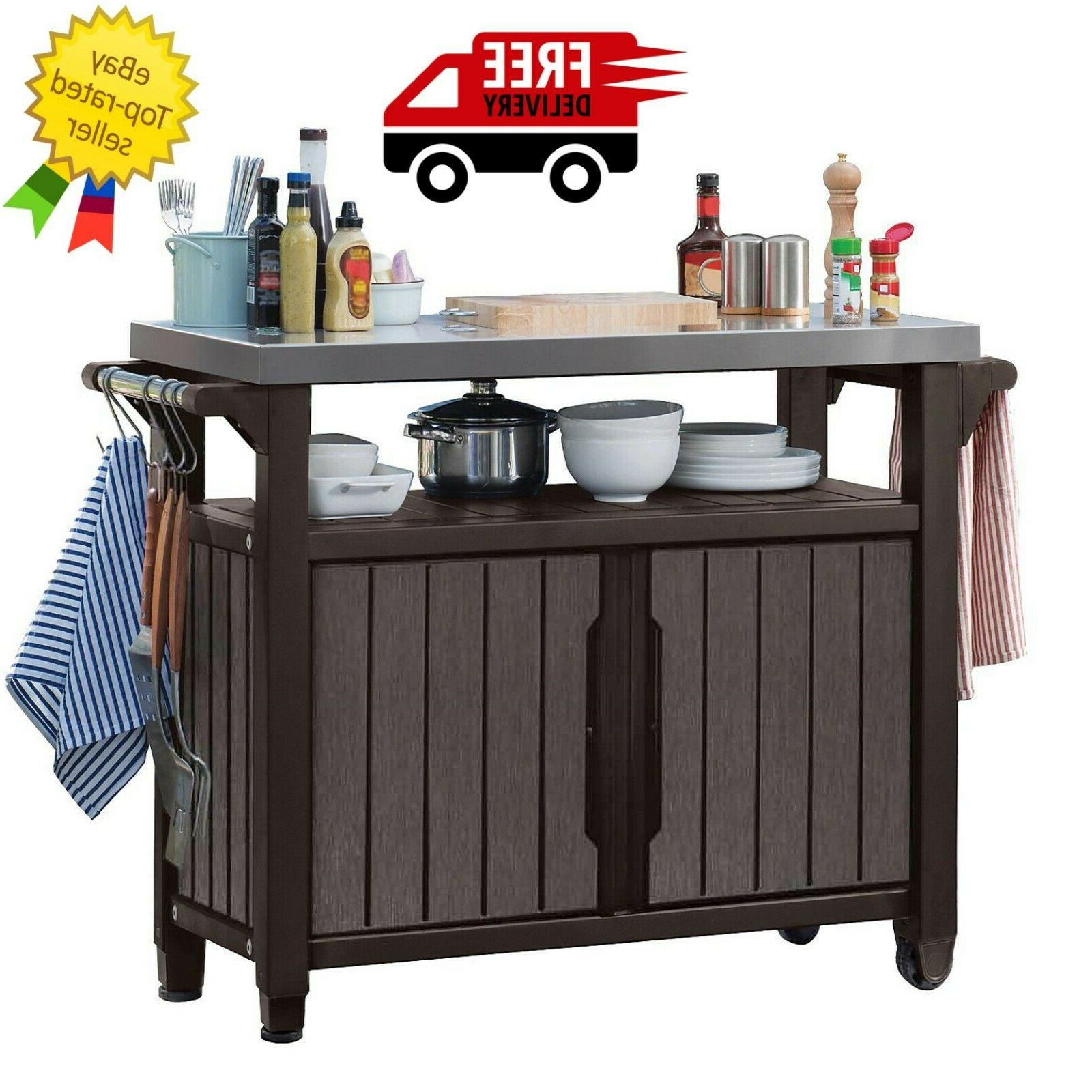 Keter Outdoor Entertainment Storage Station Grilling Table Brown