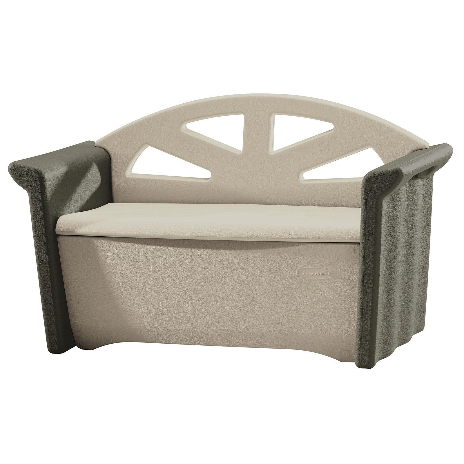 patio storage bench olive and sandstone outdoor