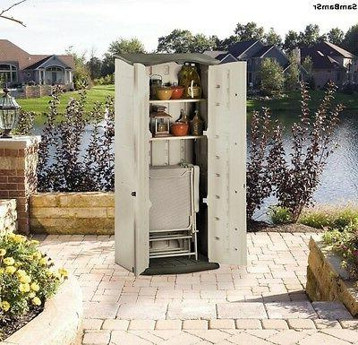 plastic vertical outdoor storage shed organize patio