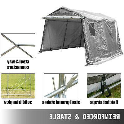Portable Storage Shed Outdoor Carport Canopy Steel Tent 10x10