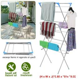 Large Folding Drying Rack Laundry Clothes Storage 3 Tier Met