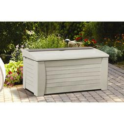 Light Taupe 127 Gal Deck Box W/ Seat Outdoor Durable Plastic