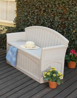 Light Taupe 50 Gal Outdoor Resin Deck Storage Bench Water-Re