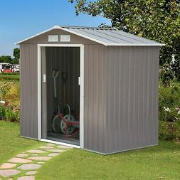 Outsunny 7' x 4' Outdoor Metal Garden Storage Shed - Gray/Wh