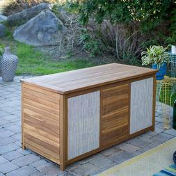 Natural Finish Wood Modern Patio Deck Box w/ Gray Fabric Acc