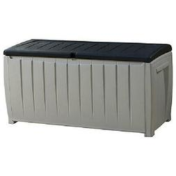 Outdoor 90 Gallon Plastic Pool Deck Storage Box All Weather