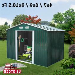Outdoor Garden Storage Shed Metal Tool House Backyard Lawn S