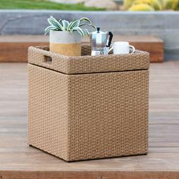 Outdoor Light Brown Wicker Patio Storage Cube Side Table W/