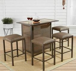 Patio Bar Set Outdoor Table Stool Chair Storage Drinks Water