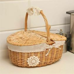 Picnic Basket Storage Woven Straw Foods Container For Garden