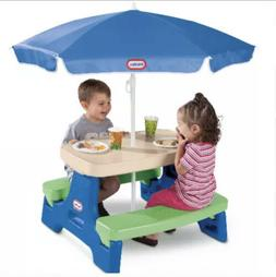 Play Table with Umbrella Outdoor Picnic Seat Fun Little Tike