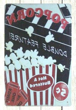 Popcorn theater candy store tin metal sign room outdoor wall
