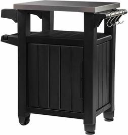 Keter Portable Outdoor Table with Storage Cabinet and Stainl