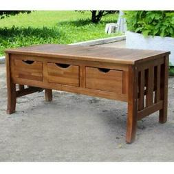 Rustic Coffee Table Storage Bench 3 Drawer Acacia Wood Natur