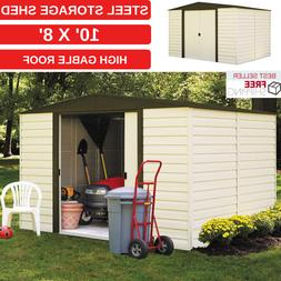 Steel Storage Shed 10 x 8 Ft Garden Cabinet With High Gable