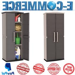 Tall Outdoor Plastic Storage Shed Utility Cabinet Brown Upri