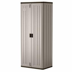 Tall Storage Cabinet Outdoor Container Shed Shelves Durable