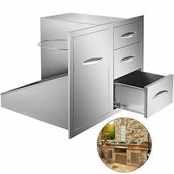 """Tank Tray Triple Drawer Combo 30"""" BBQ Grill Storage Outdoo"""