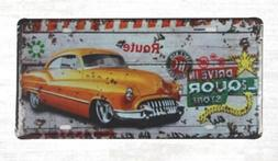outdoor art prints Drive in Liquor Store tin sign car plate