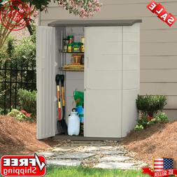 Rubbermaid Vertical Storage Shed Resin Plastic Outdoor Cabin
