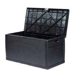 Waterproof Lockable Deck Box Storage Container Shed Bin Back