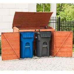 Wooden Garbage Can Holder Outdoor Storage Shed Bin Solid Woo