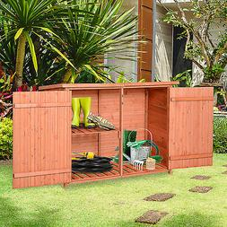 Outsunny Wooden Outdoor Utility Garden Storage Shed Tool Kit